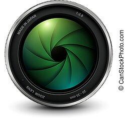 lente, foto, veneziana, câmera