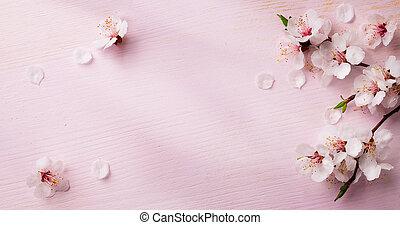 lente, frame, bloemen, kunst, achtergrond