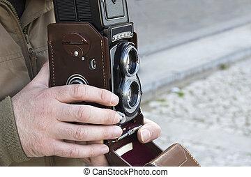 lente gemela, reflejo, cámara