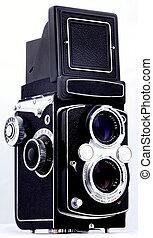 lente gemela, reflejo, película, cámara