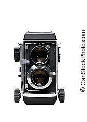 lente, gemelo, cámara, reflejo