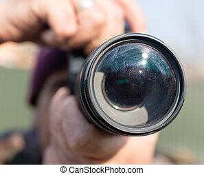 lente, grande, uomo macchina fotografica