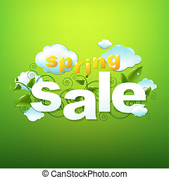 lente, groene, verkoop, achtergrond, poster