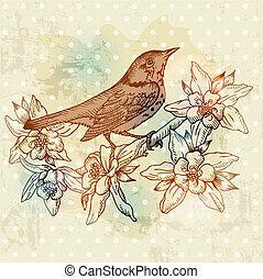 lente, -, hand, vector, ouderwetse , getrokken, bloemen, vogel, kaart