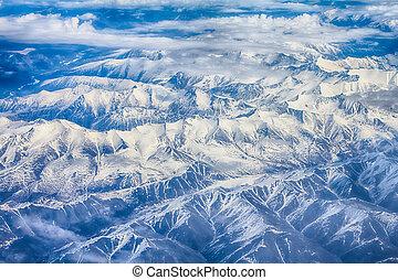 lente, hoogte, landschap., bergen