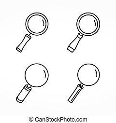 lente ingrandimento, linea, icone