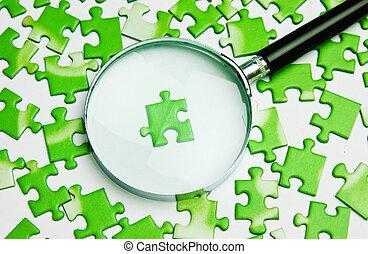 lente ingrandimento, su, il, verde, puzzle