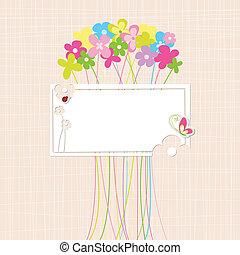 lente, kleurrijke, bloem, begroetende kaart