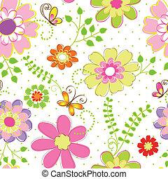 lente, kleurrijke, bloem, seamless, model
