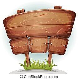 lente, land, houten teken