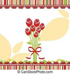 lente, liefde, begroetende kaart, met, het rood nam toe, bloemen
