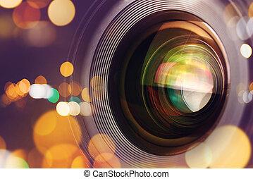 lente, luce, bokeh, macchina fotografica, fotografico