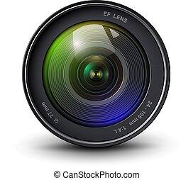 lente, macchina fotografica, 3d, icona