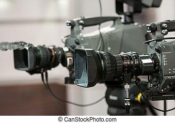 lente, macchina fotografica, closeup, due