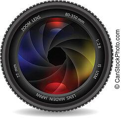 lente macchina fotografica, con, otturatore