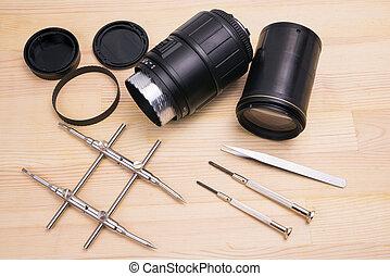 lente, macchina fotografica, decomposed
