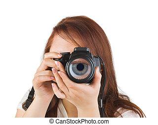 lente, macchina fotografica, occhio donna