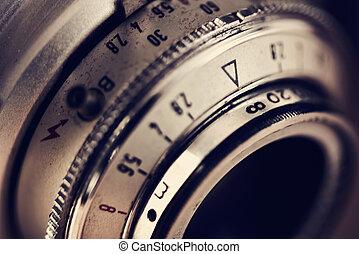 lente, macchina fotografica, vecchio