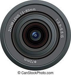 lente, macchina fotografica, vettore