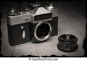 lente, manuale, proprio, vecchio, macchina fotografica
