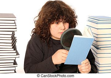 lente, menino, livro, leitura