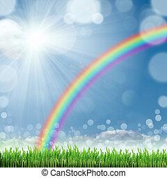 lente, natuur, achtergrond, met, gras, en blauw, hemel, in...