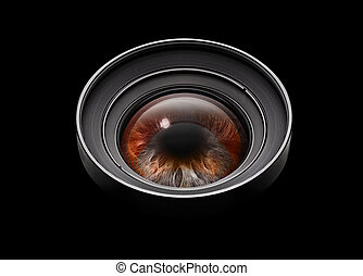 lente, nero, macchina fotografica, occhio, mondo