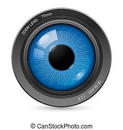 lente, olhos, câmera
