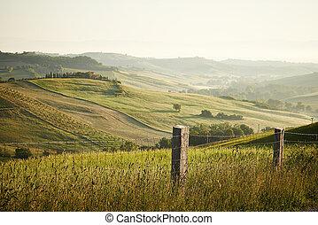 lente, ondergaande zon , tijd, tuscan, classieke, aanzichten