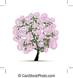 lente, ontwerp, bloemen, boompje, jouw