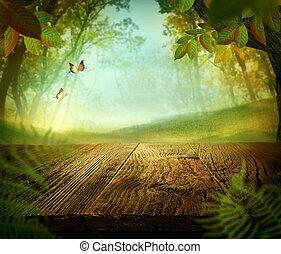 lente, ontwerp, -, bos, met, hout, tafel