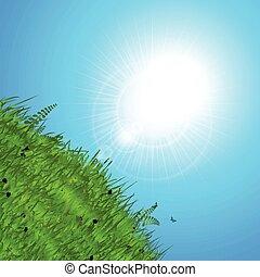lente, op, heuvel, zon