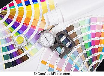 lente, pantone, e, micrometer., desenho, e, prepress,...