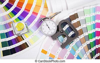lente, pantone, y, micrometer., diseño, y, prepress,...