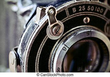 lente, piegatura, macchina fotografica, vecchio