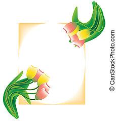 lente, postkaart, met, tulpen