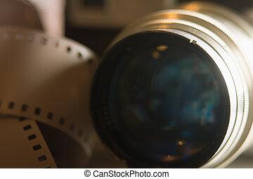 lente, primo piano, macchina fotografica, vecchio, film