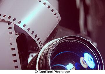lente, primo piano, vecchio, macchina fotografica.