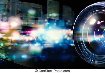 lente, professionale, macchina fotografica