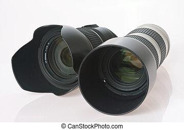 lente, professionale, macchina fotografica, due