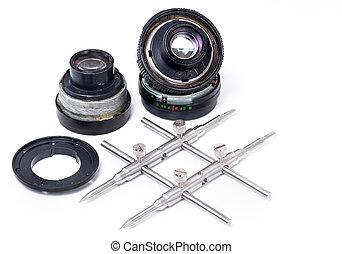 lente, riparazione, macchina fotografica