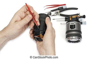 lente, riparazione, macchina fotografica, digitale
