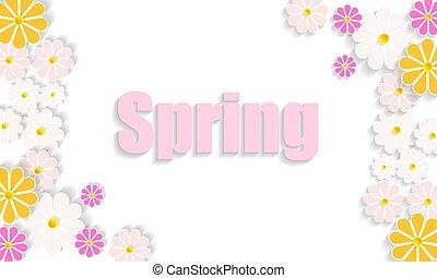 lente, sappig, helder, achtergrond, wilde bloemen
