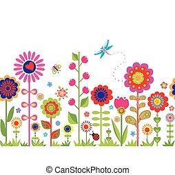 lente, seamless, grens, met, bloemen