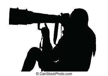 lente, sentado, fotógrafo, grande, silueta