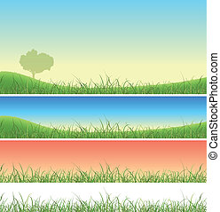 lente, set, gras, groen landschap