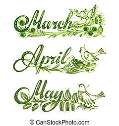 lente, set, naam, maand
