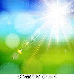 lente, sol, brillante, flare., brillar