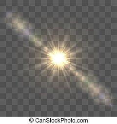 lente, sol, luminoso, chama