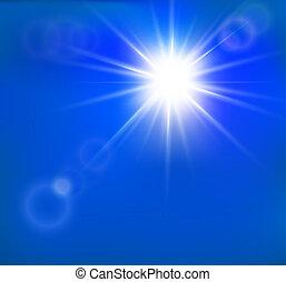 lente, sol, quentes, vetorial, chama